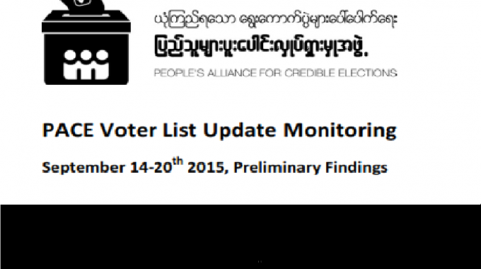 PACE Voter List Update Monitoring Sep 14-­‐20th 2015, Preliminary Findings