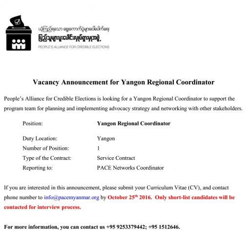 Vacancy Announcement For Yangon Regional Coordinator